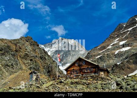 Bietschhornhütte AACB, Bietschhorn summit behind, Loetschental, Valais, Switzerland - Stock Image
