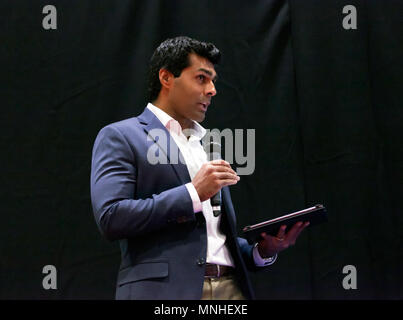 Former F1 Driver, Karun Chandhok introduces an interview session on DriveTribe,  at the Lecture Theatre, during the press day of the London Motor Show 2018. - Stock Image