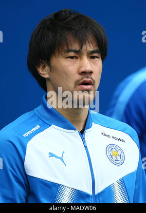 Japanese forward Shinji Okazaki of Leicester during the Premier League match between Brighton and Hove Albion and Leicester City at the American Express Community Stadium in Brighton and Hove. 31 Mar 2018 *** Editorial use only. No merchandising. For Football images FA and Premier League restrictions apply inc. no internet/mobile usage without FAPL license - for details contact Football Dataco *** - Stock Image
