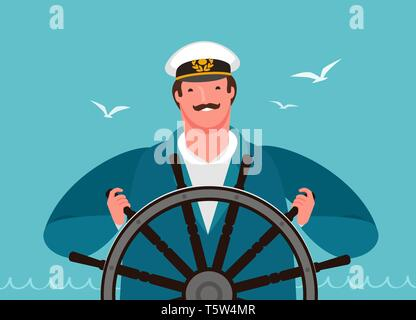 Sailor at the helm of the ship. Sailing, cruise vector illustration - Stock Image