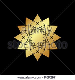 Circular geometric ornament on black background. Vector ornamental gold isolated figure, flower or religious emblem for your design - Stock Image