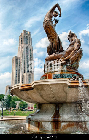 """The Mary Schenley Memorial Fountain, also known as """"A Song to Nature,"""" is by artist Victor David Brenner.  Pittsburgh, Pennsylvania, USA - Stock Image"""