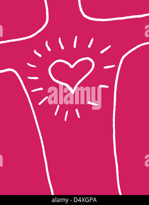 Love and happiness. A radiating heart on a chest. - Stock Image