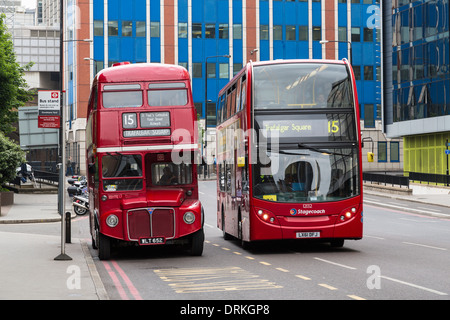 Traditional red buses London, England - Stock Image