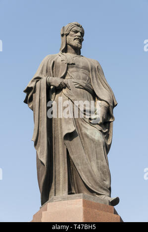 Azerbaijan, Baku, Central Baku,  Nizami Ganjavi (1141–1209) statue, Persian Romantic poet, - Stock Image