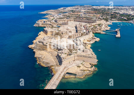Fort Ricasoli aerial view. Island of Malta from above. Bastioned fort built by the Order of Saint John in Kalkara, Malta. Gallows' Point, north shore  - Stock Image