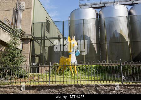 Babycham chamois trade mark mascot model, Showerings cider mill, Shepton Mallet, Somerset, England, UK - Stock Image
