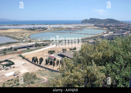 Cagliari Salt Flats and the so called Devils Saddle, Cagliari Salt Flats, Sardinia, Europe, Cagliari, sand, salt, flat, salt, - Stock Image