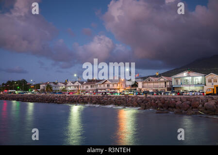 St. Kitts and Nevis, Nevis. Charlestown waterfront buildings - Stock Image