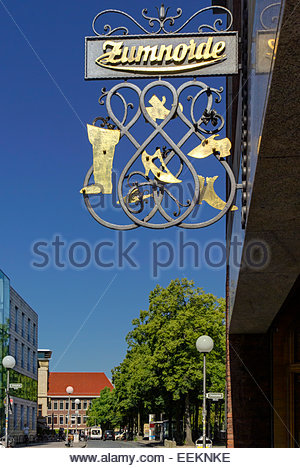 Sign for Zumnorde Signora shoe store on Prinzipalmarkt street in Münster. - Stock Image