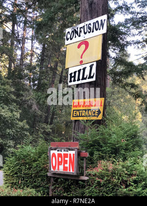 Eureka, CA - November 19, 2018: Confusion Hill oddity park in the California Redwoods National and State Parks in Northeast California. - Stock Image