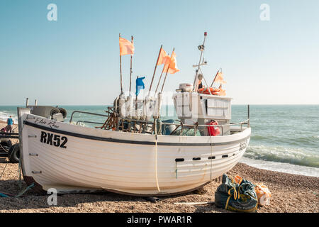 Fishing Boats, Hastings Beach, East Sussex, UK - Stock Image
