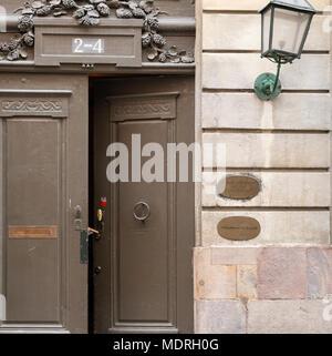 Door ajar at the Swedish academy. - Stock Image