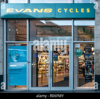 Door at the main entrance of the Glasgow branch of Evans Cycles, a long-established UK bicycle retail chain. - Stock Image