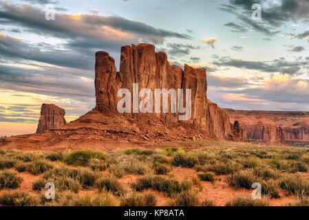 Sunset in Monument Valley, Navajo Tribal Park, ever changing light. Arizona-Utah border, USA - Stock Image