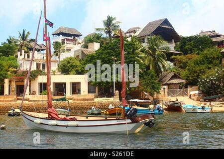 Sail boats in Shela, Lamu Island, Kenya - Stock Image