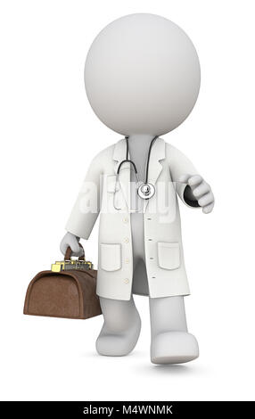 Dude 3D character the Doctor walking and carrying vintage bag. Front view, 3d Render. - Stock Image