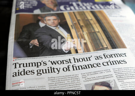 The Guardian newspaper headline Michael Cohen 'Trump's worst hour' as former aides guilty of finance crimes' 23 August 2018  London UK - Stock Image