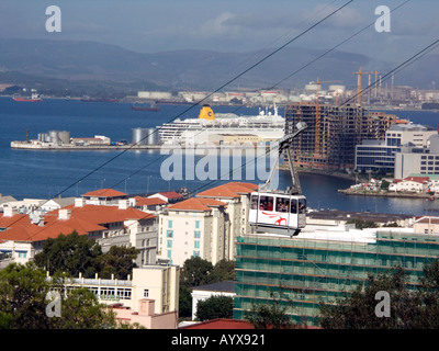 Gibraltar Cable Car takes passengers to the Upper Rock Nature Reserve, Gibraltar harbour, harbor, port,  Gibraltarian Europe Med - Stock Image