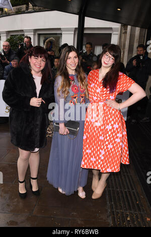 LONDON, UK. March 12, 2019: Briony Williams, Manon Lagreve and Kim-Joy  arriving for the TRIC Awards 2019 at the Grosvenor House Hotel, London. Picture: Steve Vas/Featureflash Credit: Paul Smith/Alamy Live News - Stock Image