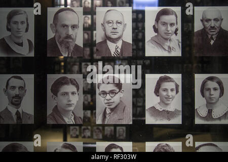 Pictures of Jewish victims of Holocaust as a part of exhibition in Museum of the Second World War in Gdansk, Poland - Stock Image