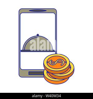 Online food order from smartphone blue lines - Stock Image
