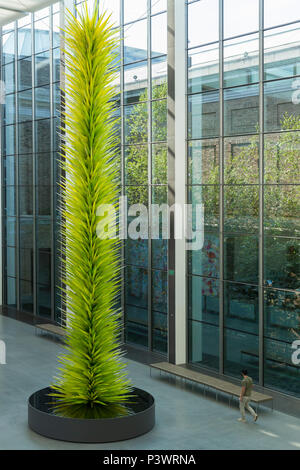 Lime Green Icicle Tower, Dale Chihuly, 2011, New American Cafe, interior, Museum of Fine Arts, Boston, Mass, USA, North America - Stock Image