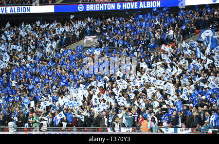 Fans during the FA Cup Semi Final match between Brighton & Hove Albion and Manchester City at Wembley Stadium . 6 April 2019 Photograph taken by Simon Dack  Editorial use only. No merchandising. For Football images FA and Premier League restrictions apply inc. no internet/mobile usage without FAPL license - for details contact Football Dataco - Stock Image