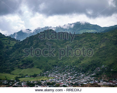 The Nicaraguan city of Jinotega visible from the mountains west of town. - Stock Image
