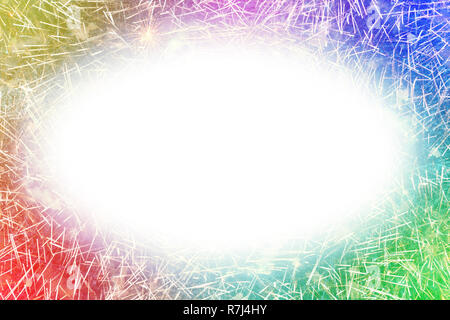Colorful fireworks with white oval glowing edges copy space in the middle - Stock Image