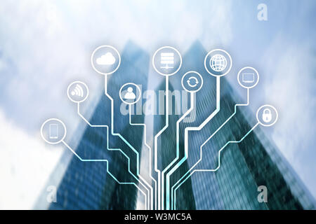 Telecommunication and IOT concept on blurred business center background. - Stock Image