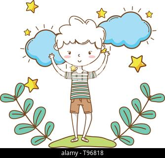 Stylish boy blushing cartoon outfit shorts stripped tshirt  clouds and stars background vector illustration graphic design - Stock Image