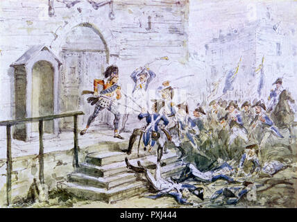 'Heroic conduct of the Highland Sentinel': Scots soldier defends Castlebar Gaol against French allies of Irish rebels      Date: 27 August 1798 - Stock Image