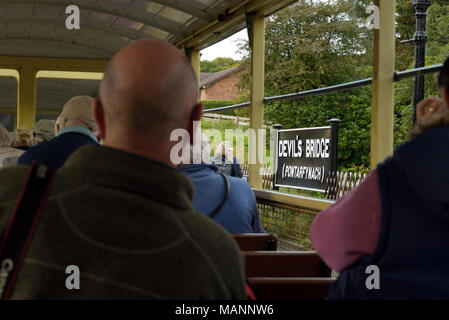 Passengers Awaiting Departure at Devil's Bridge Station - Stock Image