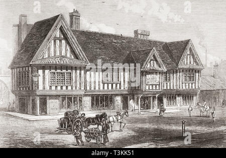 The Old Crown, a pub in Deritend, the oldest extant secular building in Birmingham, England, seen here in 1865. From The Illustrated London News, published 1865. - Stock Image