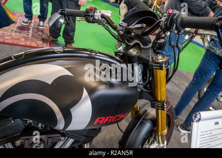 Birmingham, UK. 17th November 2018.  Arch Motorcycle  seen at Motorcycle Live NEC  Arch Motorcycle is  Keanu Reeves motorbike company -  Credit Glamourstock Credit: glamourstock/Alamy Live News - Stock Image