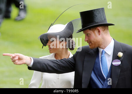 19.06.2018, Ascot, Windsor, UK - Prince Harry, Duke of Sussex and his wife Meghan, Duchess of Sussex. 00S180619D828CAROEX.JPG [MODEL RELEASE: NO, PROP - Stock Image