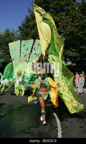 Carnival Butterfly Girl in the Notting Hill Carnival Parade 2009 - Stock Image