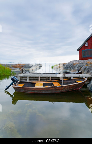 Rowing boat in the 'Archipelago of Stockholm', Sweden - Stock Image