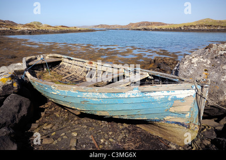 Derelict small fishing boat - Stock Image