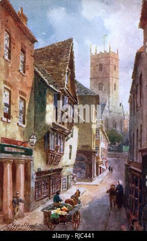 Dartmouth, Devon - Foss Street - view toward St Saviours Church. - Stock Image