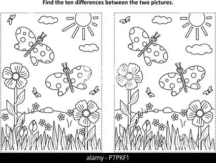 Spring or summer joy themed find the ten differences picture puzzle and coloring page with butterflies, flowers, grass. - Stock Image