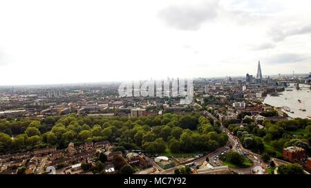 Aerial London Urban Cityscape around South of the City Neighborhood Bermondsey, Elephant & Castle Above Southwark Park - Stock Image