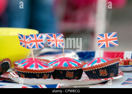 Celebrating the Queen's Diamond Jubilee at a street party in Stony Stratford, Milton Keynes - Stock Image