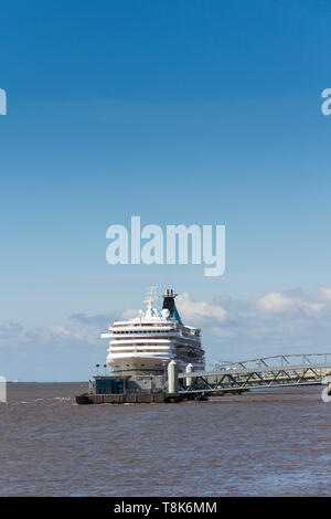 Cruise ship Artania moored at the cruise liner terminal near the Pier head and adjacent to the River Mersey ferry landing stage, Liverpool. - Stock Image