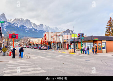 CANMORE, CANADA - OCT. 26, 2018: Downtown Main Street in Canmore Kananaskis of the Canadian Rockies. As a gateway to Banff National Park, the mountain - Stock Image