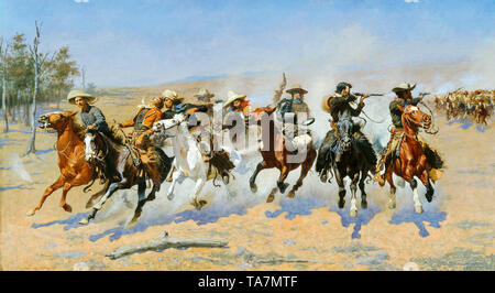 Frederic Remington, A Dash for the Timber, American Old West painting, 1889 - Stock Image