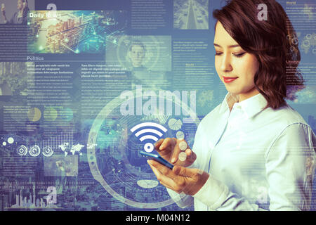 smart phone news application concept - Stock Image