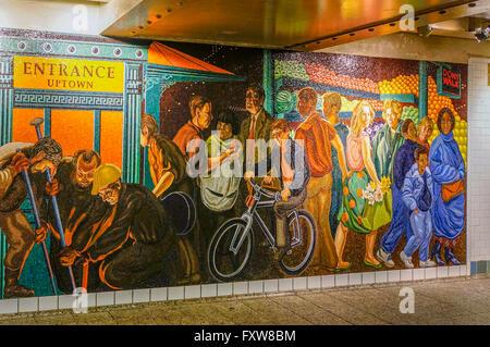 Mural  at Times Square, Subway, New York City - Stock Image