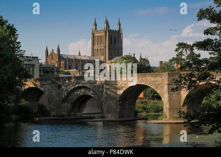 View of Hereford's gothic style cathedral and St Martins Street bridge crossing the River Wye, Hereford, Herefordshire, England UK - Stock Image